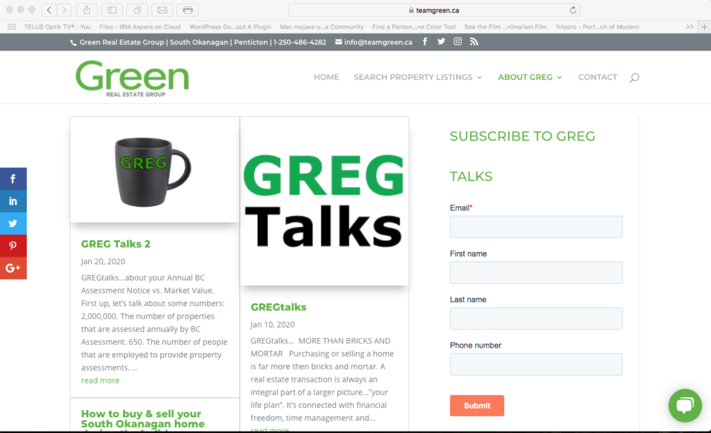 teamgreen blog page with subscription form